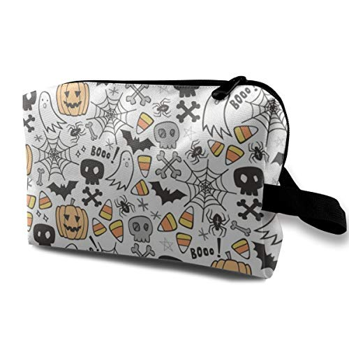 Halloween Doodle with Skulls Bat Pumpkin Spiderweb Ghost On White Tiny Travel Makeup Cute Cosmetic Case Organizer Portable Storage Bag for Women