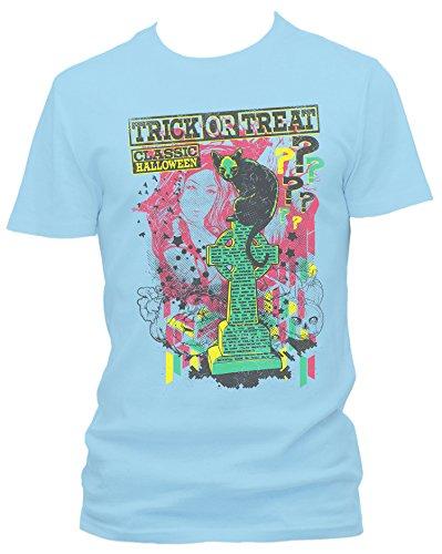 Trick or Treat Cooles Party Herren Shirt, hellblau, XXL (Grabstein Zeichnungen Halloween)