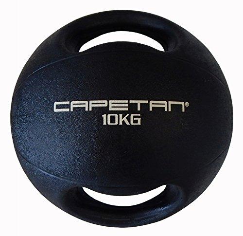 Capetan Professional Line Dual Grip 10 kg Medizinball aus Gummi mit zwei Griffen (auf Wasser schwimmend) – 10 kg Cross Training Medizinball mit Griffen