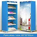 TANQeas Schuhschrank 8-Layer 7-Grid Non-Woven Fabrics Große Schuhregal Organizer Removable Shoe Storage für Home minimalistische Möbel Paris Skies 90cm