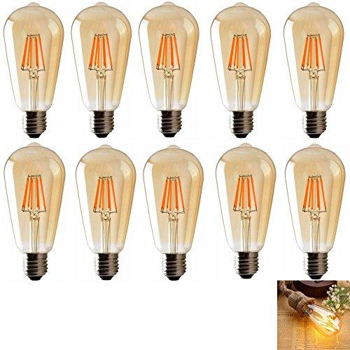 E27 Ampoule LED Edison, 2700K Lampe Décorative Ampoules à incandescence Rétro Edison Ampoule Antique Lampe 10 Pack