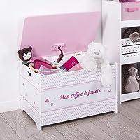 Preisvergleich für ATMOSPHERA Spielzeugkiste aus Holz für Kinder - Stern-Motiv - Farbe Rosa und WEIß