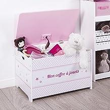 Baúl de juguetes de madera - Motivo Estrellas - Color ROSA y BLANCO