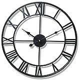 LVPY Wanduhr Retro, Lautlos Wanduhr aus Metall Vintage Wanddeko Designer Uhr für Wohnzimmer Schlafzimmer, 50 cm Ø, Silber