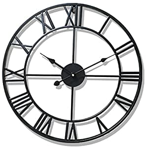 Wanduhr Groß 50CM Wanduhr Vintage Wanduhren Lautlos Wanduhr Ohne tickgeräusche Retro Wand Uhr Wanduhr Metall (Schwarz)