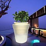 Woopower Blumentopf mit LED-Licht, solarbetrieben, weiße LED Blumentopf für Garten Hof, Balkon Dekoration
