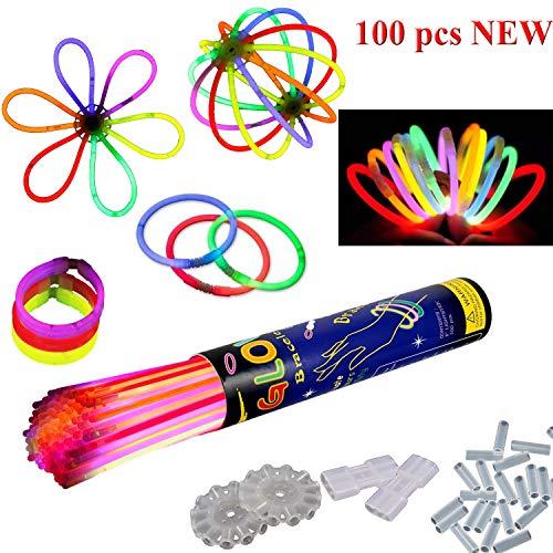MEKEET Knicklicht Partylichter Set Premium Armbänder Glow Stick mit 3D Verbinder, Ballverbinder und Lochverbinder