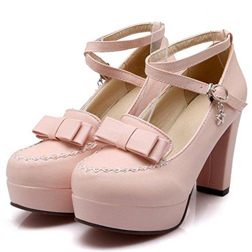TAOFFEN Femmes Escarpins Soiree Mode Bloc Talons Hauts Plateforme Sangle De Cheville Chaussures De Boucle 437 Rose