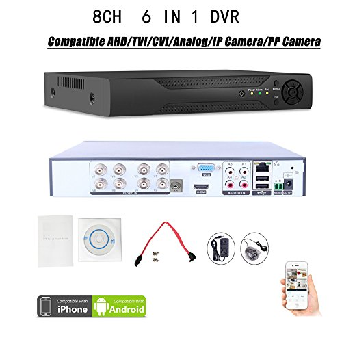 Quanmin 8CH H.264 Network Hybrid 6 in 1 DVR Analog DVR+AHD DVR+1080P ONVIF IP Camera NVR+TVI DVR+CVI DVR+PixelPlus Camera DVR Realtime Remote View Surveillance Security System Digital Video Recorder Dvr Cctv Surveillance System