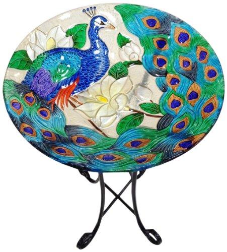 Continental Art Center cac2609500Tief handbemalt Glas Teller 18von 3Zoll, Pfau -