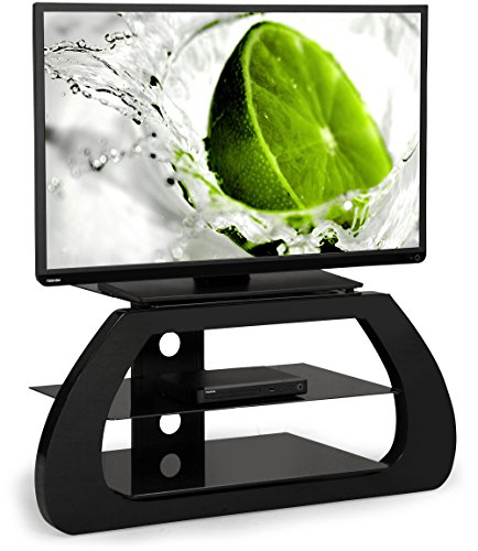 "Centurion Supports Avion nero lucido 3- mensola di vetro da 26 ""-50"" mobile TV LED / OLED / LCD"