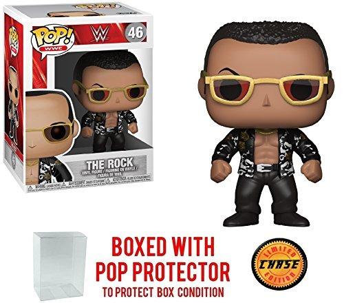 FunKo Pop! WWE The Rock Old School - Figura de vinilo de edición limitada de CHASE (incluido con el estuche de protección BOX)