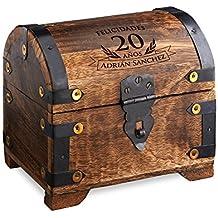 Cofre de madera oscura - Para el 20 cumpleaños - Personalizado con el NOMBRE - Caja para regalar dinero de madera oscura - Regalo original y divertido - 14 cm x 11 cm x 13 cm - Caja de almacenaje, hucha o alhajera