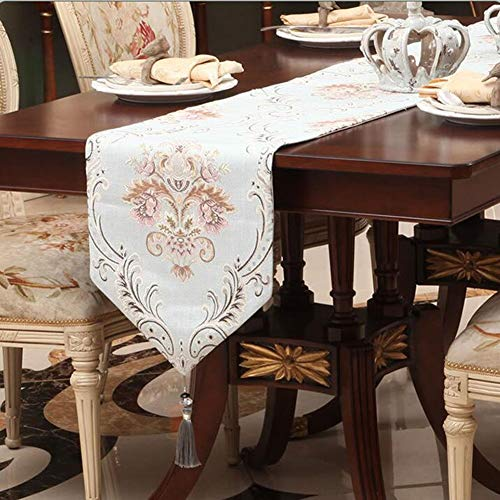 QY Tischläufer Tischläufer Drucken Tischläufer Europäischen Stil Modern Chenille Esstisch Kaffeetisch Zweitplatzierter Tapisserietuch Mit Quaste QY Tischläufer ( Color : Light blue , Size : 33*200cm )