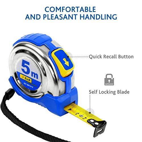 Presch cinta m/étrica 3 m profesional robusta con leng/üeta estable de cintur/ón y sistema autom/ático de enrolle