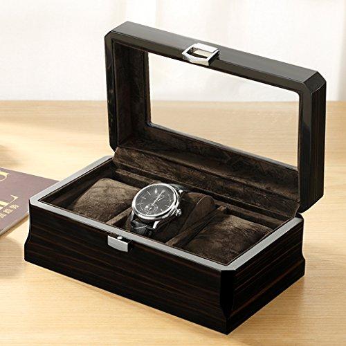 Le scatola per orologio in legno 3 slot per orologio custodia per gioielli vetrine con coperchio superiore in vetro e cuscini per la conservazione marrone + nero,black