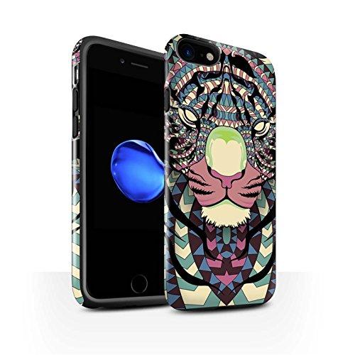 STUFF4 Glanz Harten Stoßfest Hülle / Case für Apple iPhone SE / Elefant-Grün Muster / Aztec Tier Muster Kollektion Tiger-Farbe