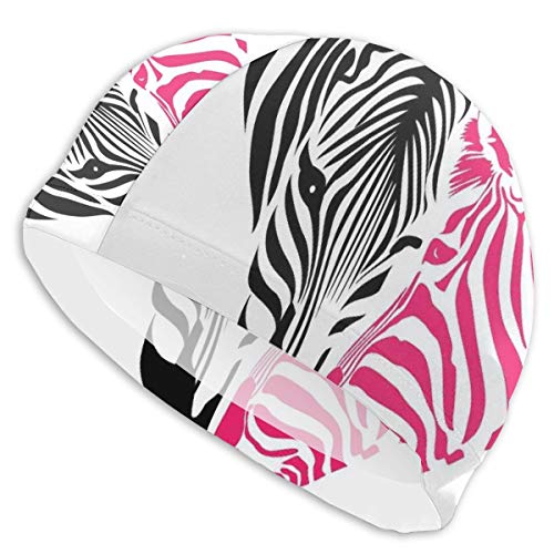 GUUi Swimming Cap Elastic Swimming Hat Diving Caps,African Zebra Couple Heads In The Shape of Heart Love Wedding Celebration,for Men Women Youths