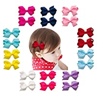 Ruyaa 3 Inch Tiny Hair Bows Clips Fully Lined for Baby Girls Fine Hair Infants 20pcs