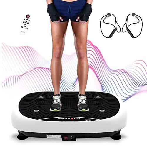 Ativafit Vibrationsplatte, Vibration Shaper Platte Trainingsgerät für Ganzkörper mit LCD Monitor, Fitness Home Vibrationsgerät Vibrationstrainer mit 3 Trainingsprograme, Fernbedienung, Trainingsbänder