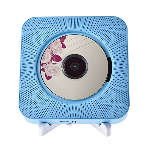 Luerme CD Lecteur Mural Bluetooth Audio Maison Hi-Fi Haut-Parleur avec Télécommande FM Radio USB MP3 3.5mm Casque AUX Entrée Sortie Bleu
