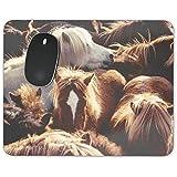 Grupo de ponis islandeses Mousepad - neopreno para ópticas y ratón láser, marrón, Rectangle Mousepad