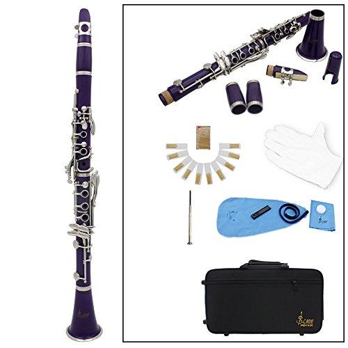 LADE Klarinette mit 17 Klappen, flach, ABS bB-Klarinette (Sopran-Fernglas mit Kork-Fett Reinigungstuch 10 Stück, Blätter-Blätter (für Holzblasinstrument) violett