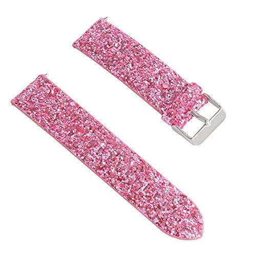 Vamoro Bling Shiny Luxury Ersatzarmband aus Leder Lederarmband Ersatzband Ersatz Uhren-Armband Smart Watch Band für Samsung Galaxy Watch 42mm(Rosa)