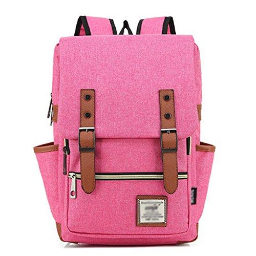 Foto de Minetom Casual Escuela Unisex Moda Vintage Mochila Backpack Rucksack Mochila Escolar para Ordenador Portátil Rosa 14 Pulgada