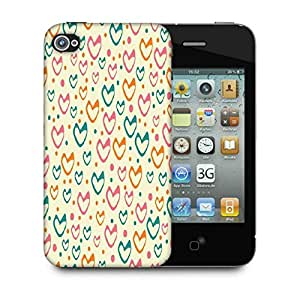 Snoogg Multicolor Hearts Cream Pattern Designer Protective Phone Back Case Cover For Apple Iphone 4