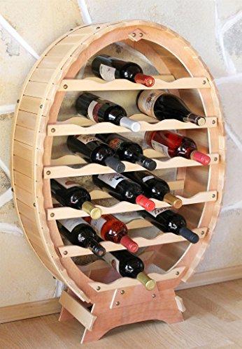 DanDiBo Weinregal Weinfass aus Holz für 24 Flaschen Natur Lackiert Bar Flaschenständer Weinständer Fass Regal