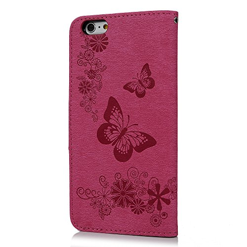 iPhone 6 Coque, iPhone 6S Coque, Bookstyle Étui Arbres Housse Imprimé en PU Cuir Case à rabat Coque de Protection Portefeuille TPU Silicone Case pour iPhone 6/ 6S - Rose Chaud Rose Chaud