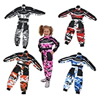 WULFSPORT KIDS CAMO RACE SUIT OVERALLS MOTOCROSS LT PW GO-KARTING CHILD WULF NEW (RED, JUNIOR M ( 7-8 YRS ))