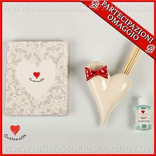 Cuorematto - vaso profumatore da muro a forma di cuore bianco con fiocco rosso in porcellana, bomboniere moderne solidali matrimonio, con scatola regalo inclusa (con confezione panna)