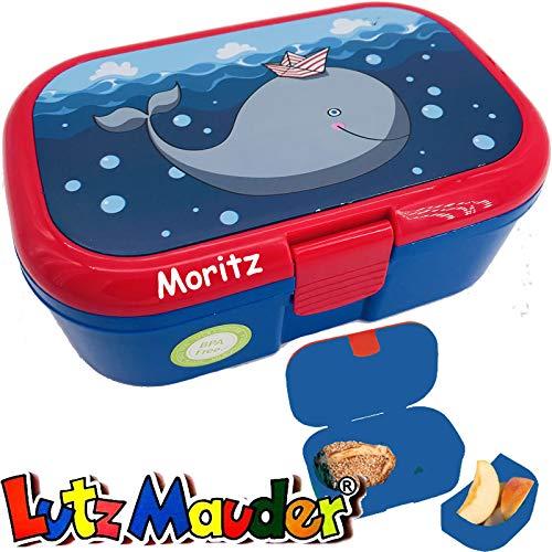 Lunchbox * WALFISCH Plus Wunschname * für Kinder von Lutz Mauder | Brotdose mit Namensdruck | Perfekt für Jungen | Vesperdose Brotzeitbox Brotzeit Schule Kindergarten Wal (mit Namen)