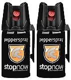stopnow Pfefferspray Abwehrspray KO-Spray Selbstverteidigung Jet-Sprühstrahl (2...
