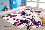 Merinos | Kinderteppich | Diamond | Kids Schmetterling Design | Rechteckig | 100% Merilon Frisee | Creme & Rosa | Größe 80cm x 150cm