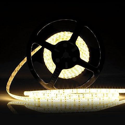 LEDMO Bande LED,DC12V SMD 2835-600LEDs Ruban LED,IP65 imperméable 2700K Lumière Blanc Chaud LED Flexible,Pack avec Bande LED 5M(Pas d'alimentation 12V 5A) - 1 Segno In Bianco