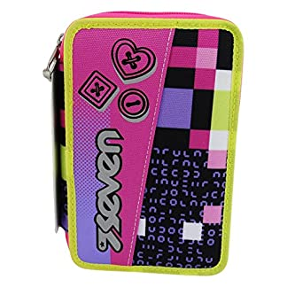 Seven Bundle Girl Estuche Escolar Làpices de colores Plumier Triple para Ninos Negro