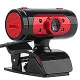 Crazy-Store Webcam 720P 12MP drehbare Kamera mit Mikrofon und LED-Lichtern für PC/Laptop Schwarz/Rot