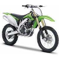 Maisto Kawasaki KX 450F: Originalgetreues Motorradmodell 1:12, mit beweglichem Ständer, Hinterrad-Federung und frei rollenden Rädern, 18 cm, grün (531175)