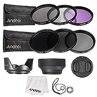 Andoer 55 مم مجموعة مرشح عدسة UV+CPL+FLD+ND(ND2 ND4 ND8) مع حقيبة حمل / غطاء عدسة/ حامل غطاء عدسة / غطاء عدسة التوليب وغطاء عدسة مطاطي/ قماش تنظيف