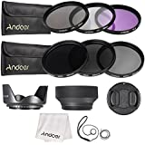 Andoer 55mm Lens Filter Kit UV+CPL+FLD+ND(ND2 ND4 ND8) With Carry Pouch/Lens Cap/Lens Cap Holder/Tulip & Rubber Lens Hoods/Cleaning Cloth