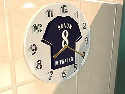 Ligue majeure de baseball–National de Ligue MLB Jersey Horloge murale–N'importe Quel Nom, n'importe quel Nombre, n'importe quelle équipe–Sans personnalisation., Homme Femme Enfant, MILWAUKEE BREWERS