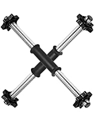 """TNP Accessories® 18"""" Standard Spinlock Dumbbell Bar Set & Spinlock Collars Pair With Handle Grips"""