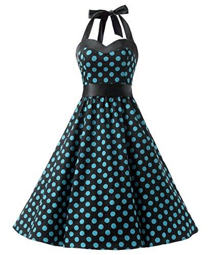 Rock Roll N Kostüm Bilder - DRESSTELLS Neckholder Rockabilly 1950er Polka Dots Punkte Vintage Retro Cocktailkleid Petticoat Faltenrock Black Blue Dot S