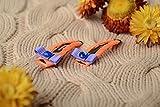 Juego de pinzas para el pelo de nina artesanales con lazos de cintas y estrases de color anaranjado