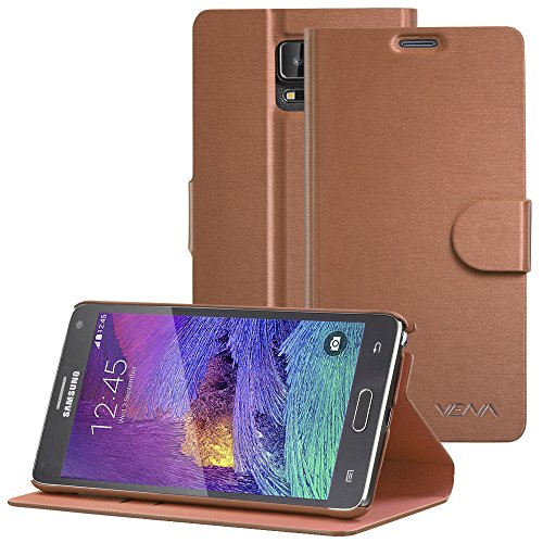 VENA vSuit Draw Bench PU Leather Wallet Flip Stand Case w/Card Pocket for Samsung Galaxy Note 4 - Brown w/Rubberized Snap-on PC -