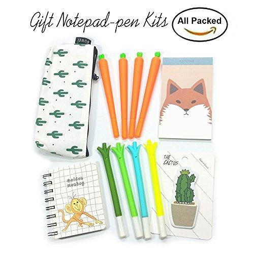 Notebook Pen Notizblock Kits 4Karotte Pen 4Farbe Cute Zwiebel Silikon Gel Pen 1Notizpapier...