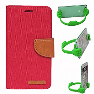 Aart Fancy Wallet Dairy Jeans Flip Case Cover for Micromax-Q372 (Red) + Flexible Portable Mount Cradle Thumb OK Designed Stand Holder By Aart Store.